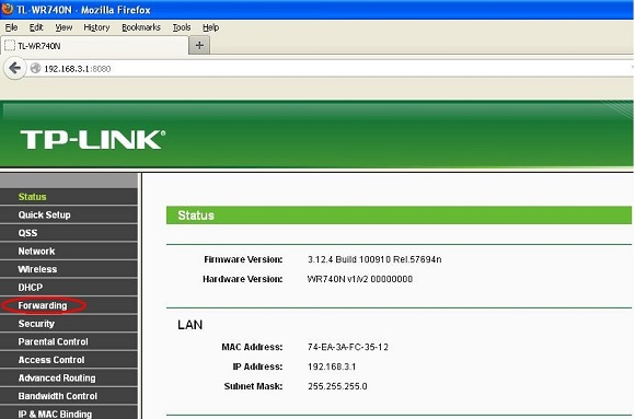 Router TP-LINK - Forwarding